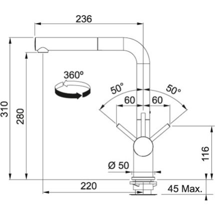Baterie bucatarie Franke Active Plus, dus extractibil, crom