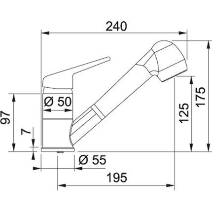 Set Franke Avena: chiuveta fragranite Urban UBG 611-78, 780x500mm + baterie Novara Plus cu dus extractibil