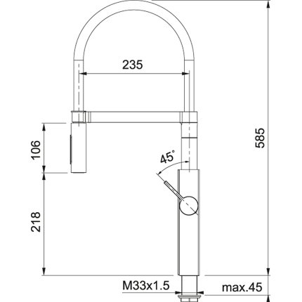 Baterie bucatarie Franke Crystal Semi-Pro, pipa flexibila, crom-negru