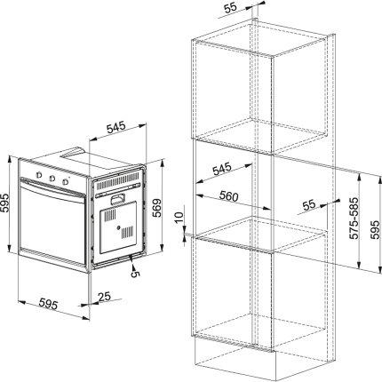 Cuptor electric incorporabil Franke Crystal 86/66 CS 66 M XS/F, 66 litri, 6+1 functii, inox satinat