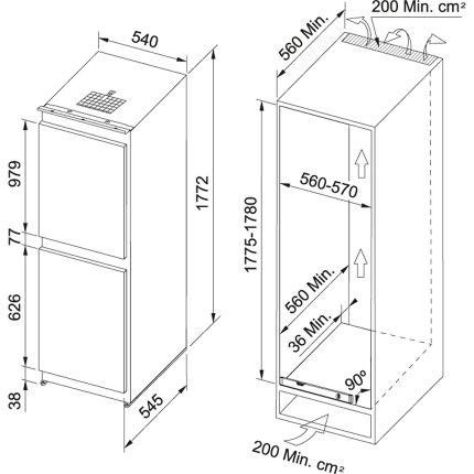 Combina frigorifica incorporabila Franke FCB 320 NR ENF V A+, 269 litri, clasa A+