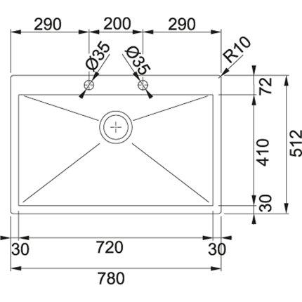 Chiuveta Franke Planar PPX 210-78 TL, 780x512mm, inox lucios