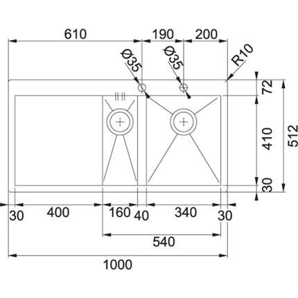 Chiuveta Franke Planar PPX 251 TL, 2 cuve inegale, picurator stanga, 1000x512mm, inox lucios