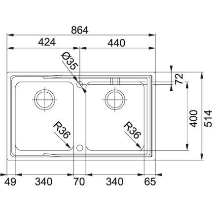 Chiuveta Franke Aton ANX 220 cu doua cuve, 864x514mm, inox satinat