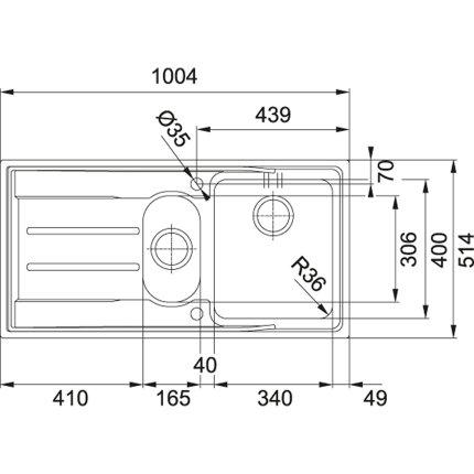 Chiuveta Franke Aton ANX 251 picurator dreapta, 1004x514mm, inox satinat