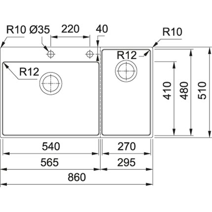 Chiuveta bucatarie Franke Box Center BWX 220-54-27 picurator dreapta, 860x510mm, inox satinat