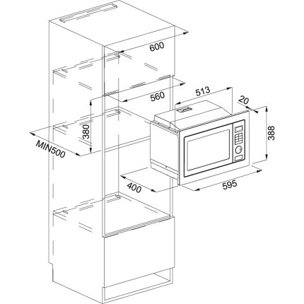 Cuptor cu microunde incorporabil Franke Crystal 250 FMW 250 CS2 G XS, 25 litri, Crystal Steel