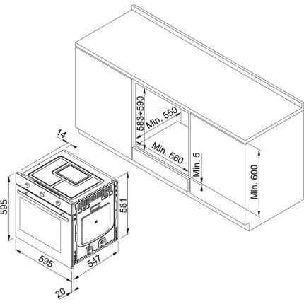 Cuptor electric incorporabil Franke Maris Free by Dror MA 82 M, 74 litri, 9 functii, AquaClean, Lunar Grey