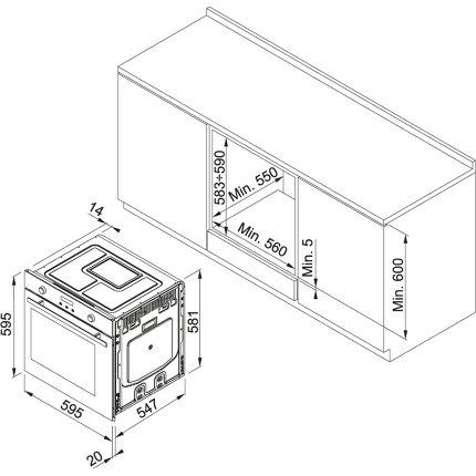 Cuptor electric incorporabil Franke Maris Free de Dror MA 86 M/BK F 74 litri, 9 functii, Aqua Clean, Nero