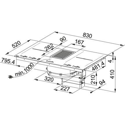 Hota in blat cu plita cu inductie integrata Franke Mythos 2gether FMY 839, max 450mc/h, 4 zone gatire, Glass black