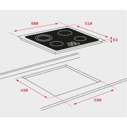 Plita vitroceramica incorporabila Teka TB 6310 cu 3 zone, 60 cm, fara rama, negru