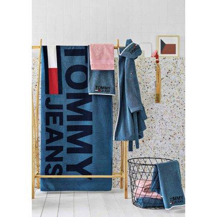 Halat de baie cu gluga Tommy Jeans TJ Logo S, albastru denim