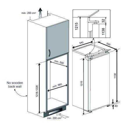 Frigider incorporabil cu o usa Teka TKI4 215, 210 litri brut, clasa A++