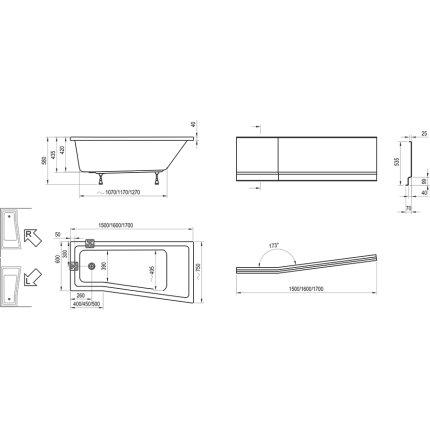 Cada asimetrica Ravak BeHappy II 160x75cm, dreapta. alb