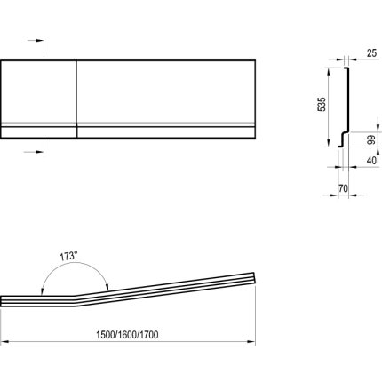 Panou lateral pentru cada Ravak BeHappy II 160cm, stanga, alb