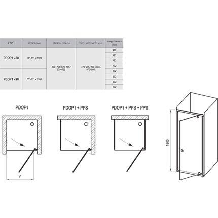 Usa de dus Ravak Pivot PDOP1 90cm, negru