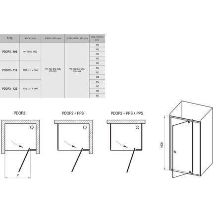 Usa de dus Ravak Pivot PDOP2 100cm, alb