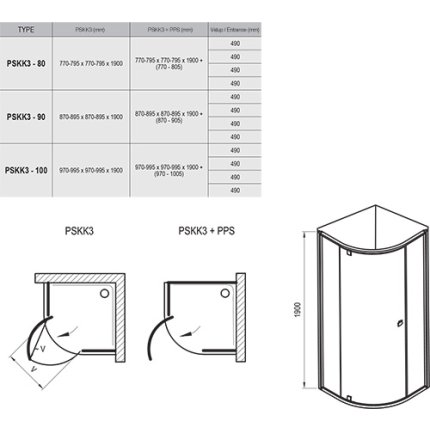 Cabina de dus semirotunda Ravak Pivot PSKK3 90x90cm, crom mat