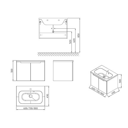 Dulap baza pentru lavoar Ravak Concept Classic SDD 800 cu doua usi, 80x49x47cm, cappuccino-alb