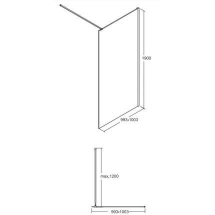 Cabina de dus tip Walk-in Besco Toca, 100x190cm, sticla transparenta, profil negru