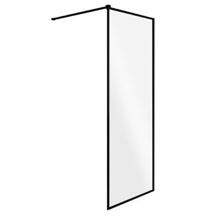 Cabina de dus tip Walk-in Besco Toca, 90x190cm, sticla transparenta, profil negru
