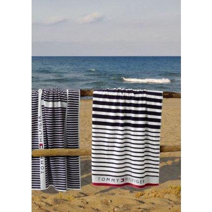 Prosop de plaja Tommy Hilfiger Navy Striped 100x180cm, Albastru Navy