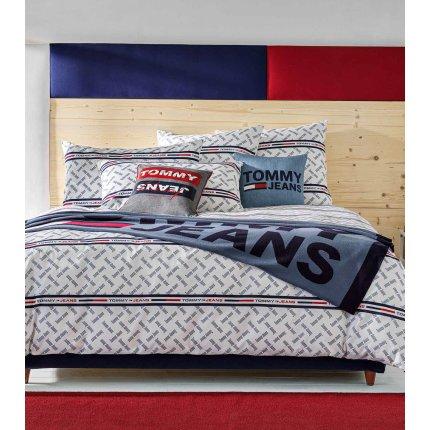 Pled Tommy Jeans TJ Logo 130x170cm, albastru denim
