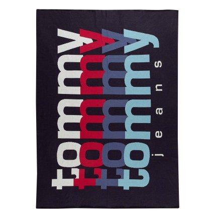 Pled Tommy Jeans TJ Rainbow 130x170cm, albastru navy