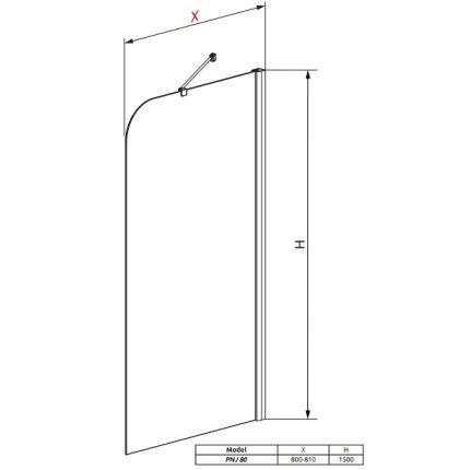 Paravan cada Radaway Torrenta PNJ/R, un element fix, 80 cm, orientare dreapta, profil crom