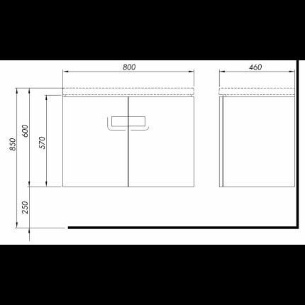 Dulap baza Kolo Twins 80cm cu doua usi, alb lucios