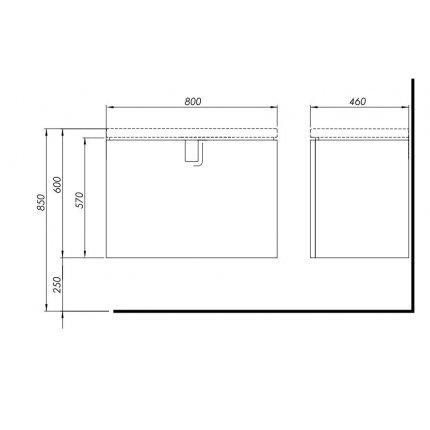 Dulap baza Kolo Twins 80cm cu un sertar inchidere lenta, gri argintiu