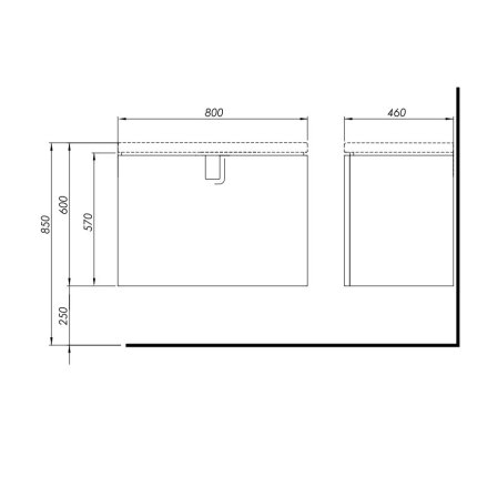 Dulap baza Kolo Twins 80cm cu un sertar inchidere lenta, negru mat