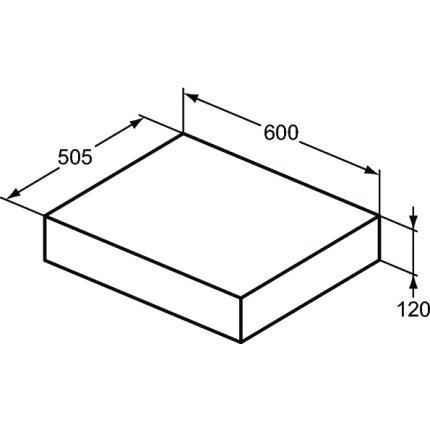 Blat pentru lavoar Ideal Standard Adapto 60x50.5x12cm, gri
