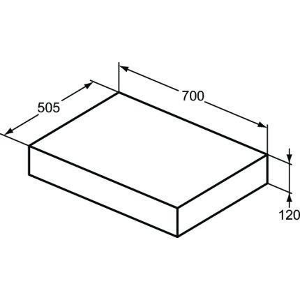 Blat pentru lavoar Ideal Standard Adapto 70x50.5x12cm, gri