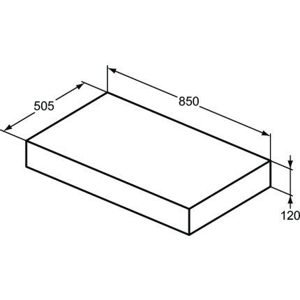 Blat pentru lavoar Ideal Standard Adapto 85x50.5x12cm, alb lucios