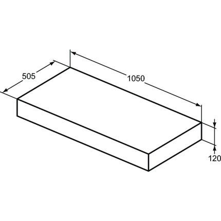 Blat pentru lavoar Ideal Standard Adapto 105x50.5x12cm, alb lucios