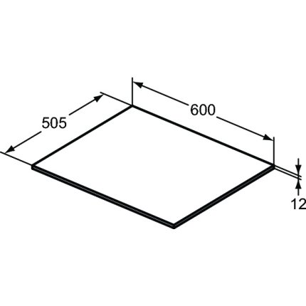 Blat suport pentru dulap suspendat Ideal Standard Adapto 60x50.5x1.2cm, alb lucios