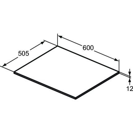 Blat suport pentru dulap suspendat Ideal Standard Adapto 60x50.5x1.2cm, maro deschis