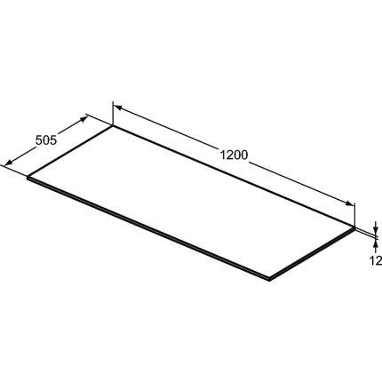 Blat suport pentru dulap suspendat Ideal Standard Adapto 120x50.5x1.2cm, alb lucios
