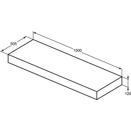 Blat pentru lavoar Ideal Standard Adapto 150x50.5x12cm, alb lucios