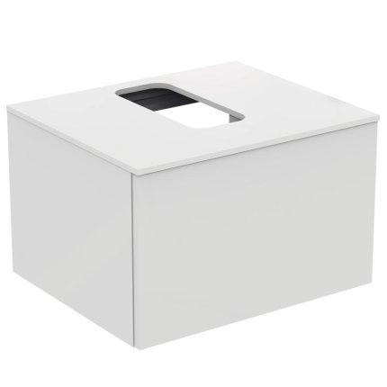 Dulap baza suspendat Ideal Standard Adapto cu un sertar, 60cm, alb lucios
