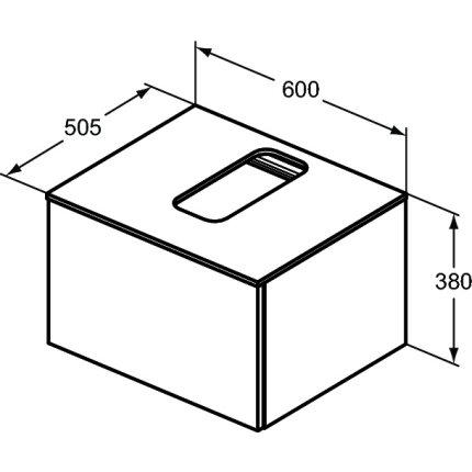 Dulap baza suspendat Ideal Standard Adapto cu un sertar, 60cm, maro deschis