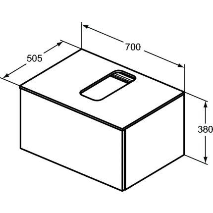 Dulap baza suspendat Ideal Standard Adapto cu un sertar, 70cm, maro inchis