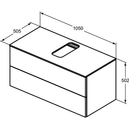 Dulap baza suspendat Ideal Standard Adapto cu doua sertare, 105cm, gri