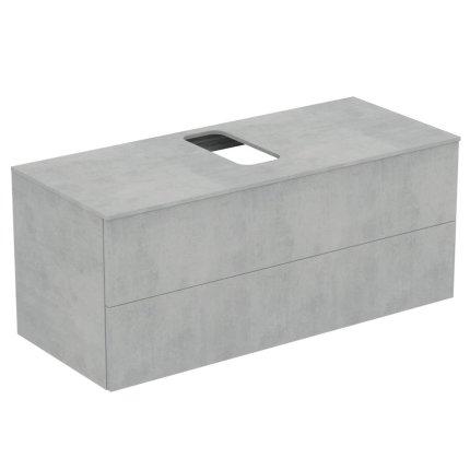 Dulap baza suspendat Ideal Standard Adapto cu doua sertare, 120cm, gri