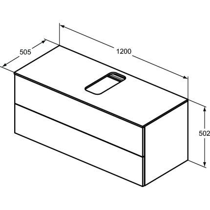 Dulap baza suspendat Ideal Standard Adapto cu doua sertare, 120cm, alb lucios