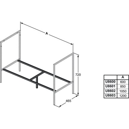 Rama de sustinere pentru lavoar Ideal Standard Adapto 60x46.5cm, necesita cadru picior