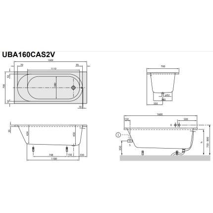 Cada rectangulara Villeroy & Boch O.Novo Solo 160x70x45cm, acril, alb alpin