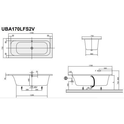 Cada rectangulara Villeroy & Boch Loop & Friends 170x75x44cm, acril, alb alpin