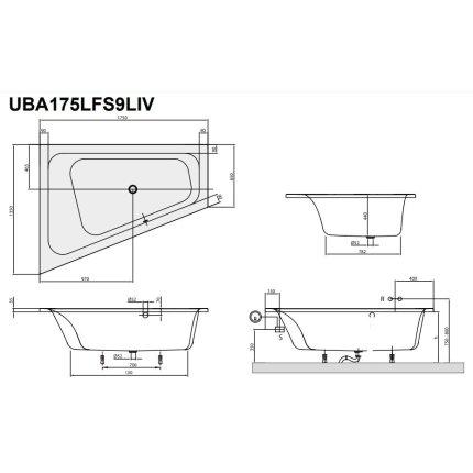 Cada asimetrica Villeroy & Boch Loop & Friends 175x135x44cm, acril, orientare stanga, alb alpin